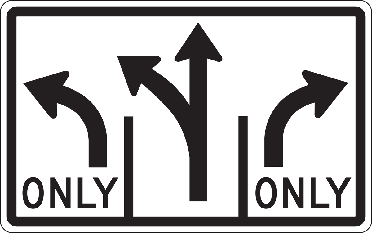 (Advance Intersection Lane Control - 3 Lane (Dbl Left, Sngl Right, Optional Middle) 30