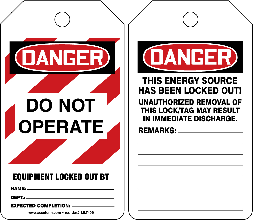 Danger Do Not Operate Equipment Locked Out By 5PK
