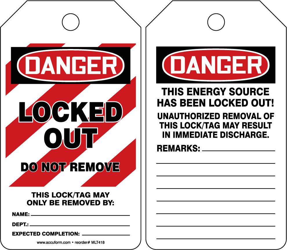 Danger Locked Out Do Not Remove 25PK